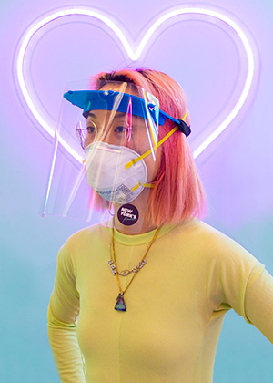Lena Imamura wearing 3D-printed face shield.