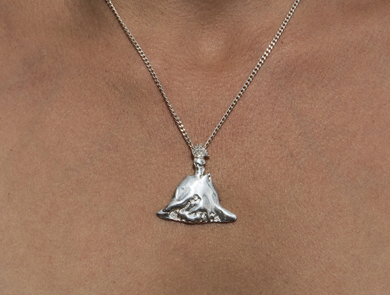 Parangaricutirimicuaro, 2018 Cast silver necklace and chain (Virgin San Juan de los Lagos as volcano)