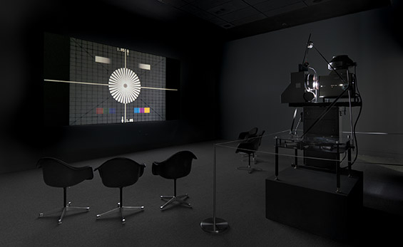 Lucy Raven, RP31, 2012, 35mm film installation, 4:48min looped. Installation view at Hammer Museum, Los Angeles.