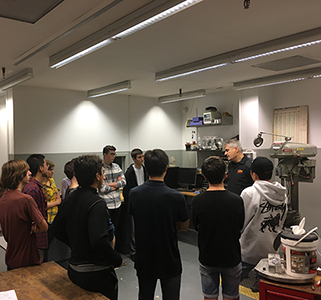 First-year engineering students in the Mechanical Engineering Lab training