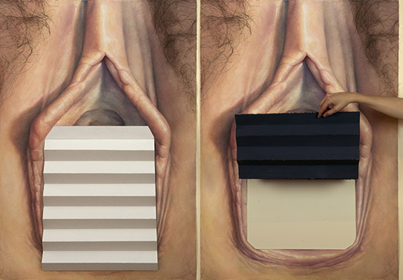 "two views of {white steps/grey steps, vagina}, watercolor on paper, 29 1/2"" x 42"", 2018"