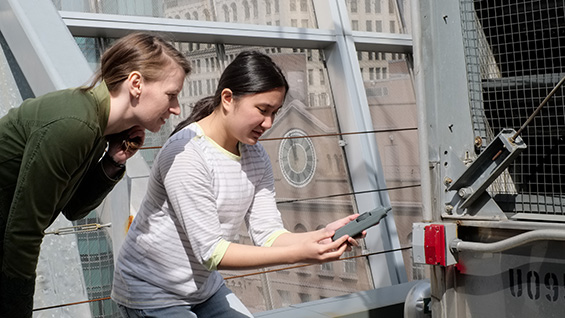 Prof. Melody Baglione and Jacqueline Le taking sound measurements. Photo: Mario Morgado/The Cooper Union