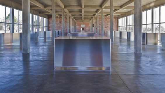 Untitled mill aluminum works (1982-86) by Donald Judd. Image courtesy Chinati Foundation