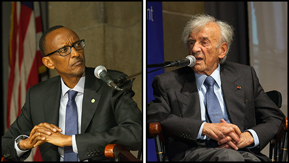 President Paul Kagame and Elie Wiesel in the Great Hall
