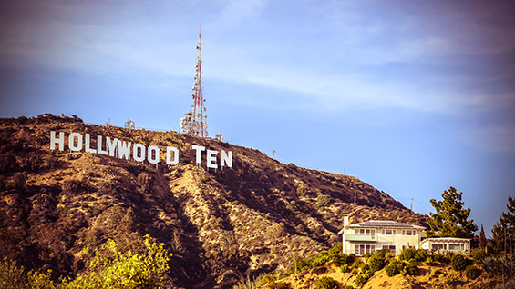 "Szabolcs KissPál, ""Hollywood Ten,"" 2014. Wallpaper, 108""x161"" 