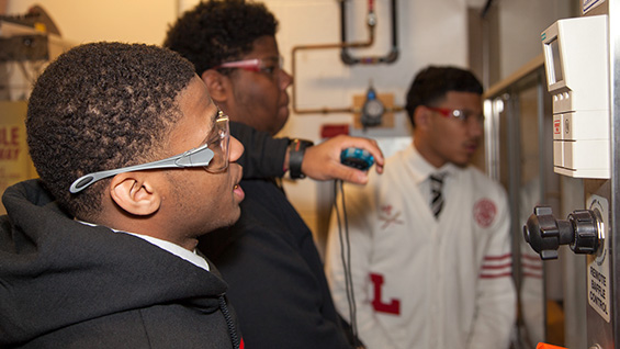 Lasalle students in the labs of 41 Cooper Square