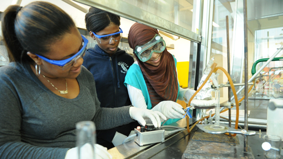 Alternative energy students prepare a viscosity test in a safety hood.