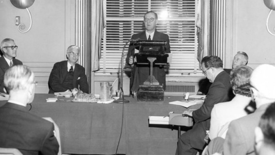 """Detail of panel discussion, """"The Practice of Engineering,"""" October 9, 1956 at the Waldorf Astoria."""