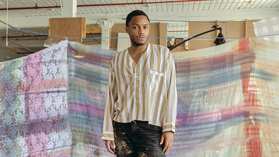 Eric Mack in his studio, 2018. Photo by Lula Hyers, via Brooklyn Museum<br><br>
