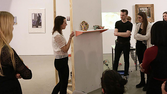 Samantha Navarro discusses her work at the final exhibition