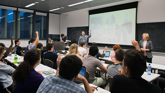 The New Media Class has a guest as Prof. Sharla Sava looks on. Photos by William Shea