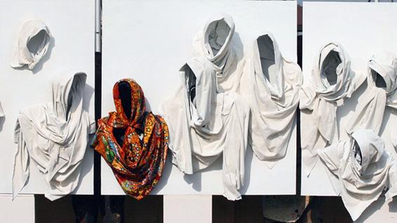 Detail: 'Orange Scarf Goes to Heaven' (2013) by Peju Alatise