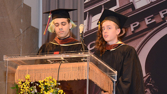 Hunter Mayton A'16 and Andy Overton A'16 deliver the student address. Photo by Island Photography/The Cooper Union