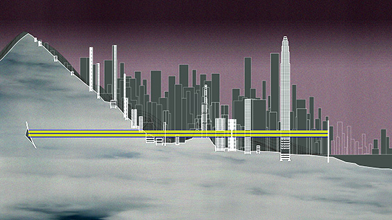 A walkway cuts through Hong Kong, as proposed by Cassandra Engstrom