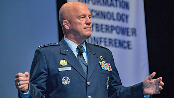 Gen. Jay Raymond, Air Force Space Command commander, speaks to the Air Force Information Technology and Cyberpower Conference in Montgomery, Ala., Aug. 28, 2017. U.S. Air Force photo by Melanie Cox