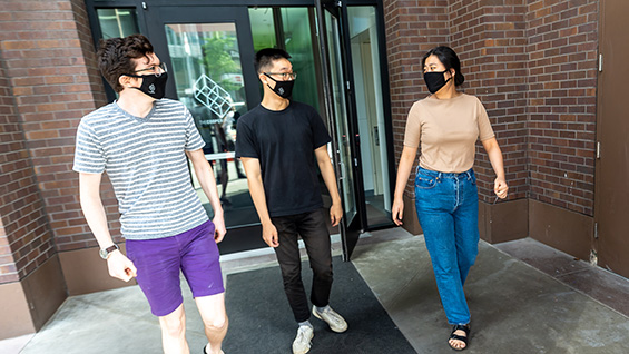 Students in masks.