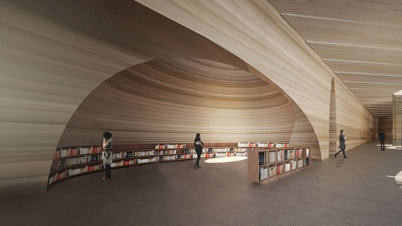 Bookstore. NADAAA, Bamiyan Cultural Centre, Afghanistan, 2015. Project. Rendering by NADAAA.