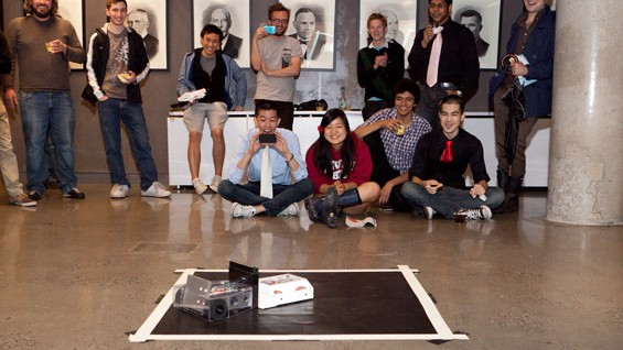 Students watching robot battle