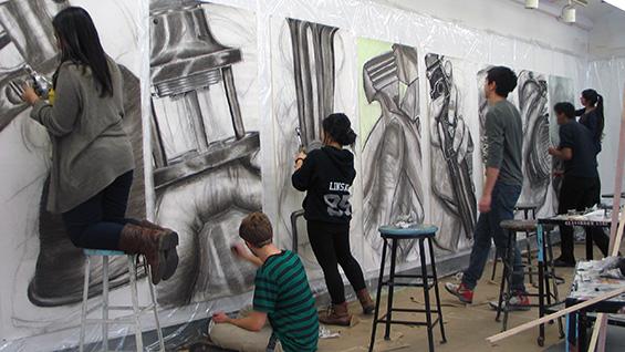 Charcoal drawing at the Saturday Program