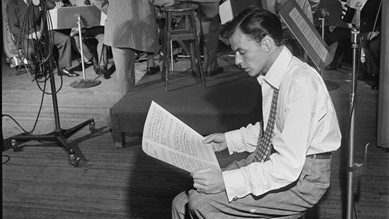 Sinatra at the Liederkrantz Hall in New York, c.1947. Photo by William P. Gottlieb via the Library of Congress