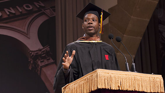 James Allister Sprang (A'13) delivers the Student Address at the 154th Commencement