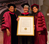 Marisa Lago Ph'77, received the Presidential Citation, flanked by Wanda Felton, member of the board, and President Sparks