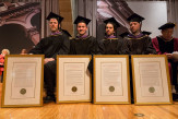 The founding members of Situ Studio: Brad Samuels, Wes Rozen, Basar Girit, and Aleksey Lukyanov-Cherny, all AR'05 received the Presidential Citation
