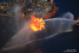 Drill rig Q4000 with flare burning gases captured from the leaking BP Macondo well a mile below the surface.