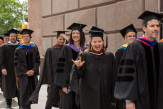 Spirited faculty members processed around the Foundation Building.