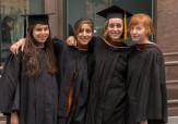 School of Art students Mikhaila Quezada-Freda, Sonika  Misra, Larissa Gilbert, and Erin Morris