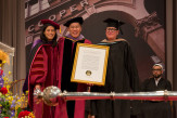 President Sparks and Trustee Robert Tan presented the presidential citation that was awarded to Professor Diane Lewis, who passed away earlier this month. The architect Merrill Elam accepted on Professor Lewis' behalf.
