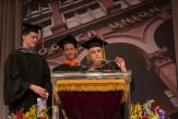 Luke Kreul AR'17, Calvin Liu ME'17, and Emily Adamo A' 17 presented the class gift.