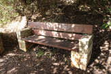 A bench with graffiti in Amirim