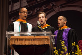 Neil Muir ME'14, Daniel Baamonde EE'14 and Michael Luke CE'14 sing the National Anthem