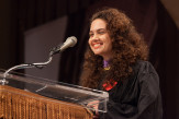 Laura S. Genes AR'14 delivers the student address
