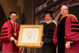Pres. Bharucha (l) and Richard Lincer (r) present Shigeru Ban AR'84 with a Doctor of Humane Letters