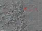 Hydro-fracking well pattern and major rivers in Colorado.