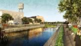 Rendered view of the esplanade from Carroll Street, a remediative wetland edge is pictured beyond at turning basin.