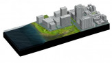 Axonometric view of brackish water wetlands on Hudson River.