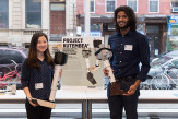"""Seung Won (Sally) Na and Sanjeen Menon show off """"Proejct Kutembea,"""" prostheses designed for the poor of developing nations"""
