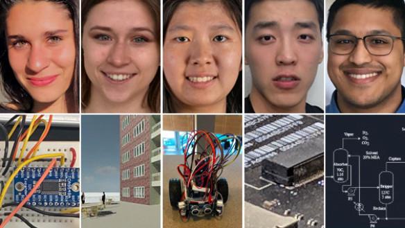 Five of the 2019 seniors of the Albert Nerken School of Engineering
