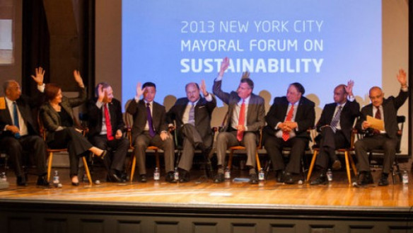 Mayoral candidates on stage in the Great Hall (via the NYT)