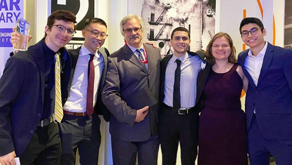 From left to right: Joshua Kitagorsky CE'21, Brighton Huynh CE'21, Adjunct Professor Joseph Viola, Mahmoud Khair-Eldin CE'21, Jenna Scott CE'21, and Evan Straus CE'21