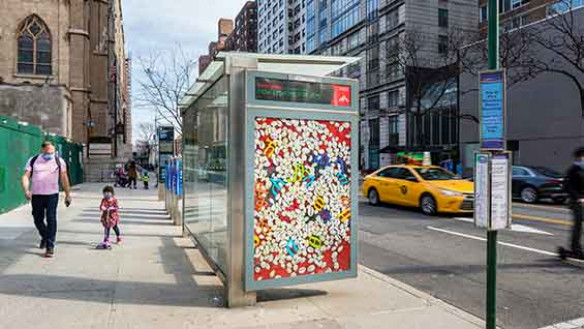 """Awol Erizku """"13 Months of Sunshine,"""" 2020, 2nd Ave. & E 106th St., Manhattan, Courtesy the artist; Photo: Nicholas Knight, Courtesy of Public Art Fund, NY. Photographic work as a part of """"Awol Erizku: New Visions for Iris,"""" an exhibition on 350 JCDecaux b"""