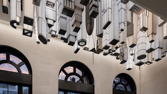 """Elmgreen & Dragset, """"The Hive"""", 2020 Stainless steel, aluminum, polycarbonate, LED lights, and lacquer Commissioned by Empire State Development in partnership with Public Art Fund for Moynihan Train Hall, Photo: Nicholas Knight, courtesy Empire State Deve"""