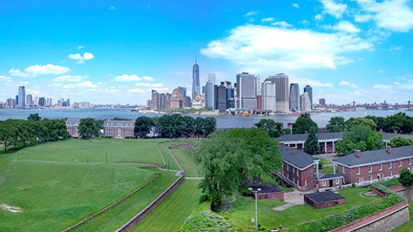 Governors Island in 2014, looking north to Manhattan. Photo by Nestor Rivera Jr. via Wikicommons