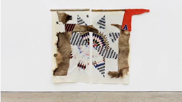 I Heart Rez Boys, 2019, textiles, elk hide, acrylic, graphite, pastels, wood, and bone, 82 x 108 inches