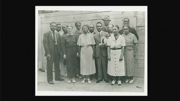 Harlem Community Art Center of the Works Progress Administration | Front row (left to right): Zell Ingram, Pemberton West, Augusta Savage, Robert Pious, Sarah West and Gwendolyn Bennett; back row (left to right): Elton Fax, Rex Goreleigh, Fred Perry, Will