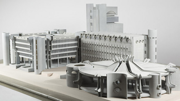 Model of Telecommunications Center (1970), Skopje, Macedonia designed by Janko Konstantinov