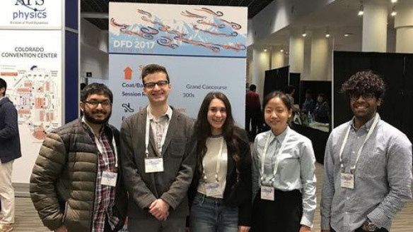 Cooper Students at the APS Conference from left to right: Rayhan Syed (EE'20), Samuel Cavas (ME'17 & M.Eng.), Skylar Eiskowitz (ME'19), Yenchia (Amy) Feng (ME'18) and (former Cooper student, now U.Colorado Boulder grad student) Sai Chikine (ME'17)